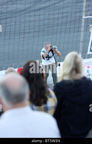Local news photographer at TEA Party rally at Stateline, Idaho, September, 17, 2009. - Stock Photo
