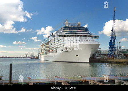 The cruise ship Celebrity Eclipse docked at the quayside in Southampton harbour - Stock Photo