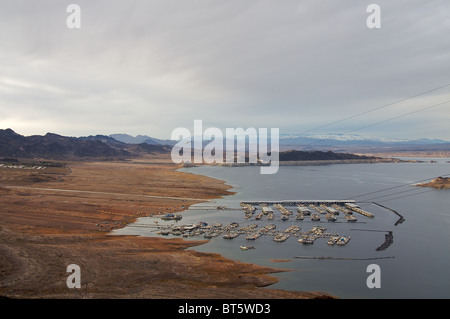 A view of Lake Mead, from above.  Lake Mead is the largest reservoir in the United States - Stock Photo