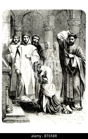 Henry II doing penananc in front of thomas a becket tomb 5 March 1133 – 6 July 1189 ruled as King of England (1154–1189), - Stock Photo