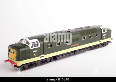 Class 55 Diesel Locomotive, BR Two Tone Green, White Background - Stock Photo