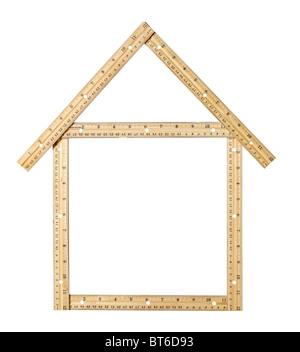 House made of wood rulers - Stock Photo