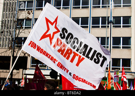 Socialist Party flag. Demonstration against government cuts, Belfast, 29 September 2010 - Stock Photo