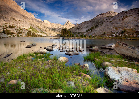 Clouds over Evolution Lake, John Muir Wilderness, Sequoia Kings Canyon National Park, California - Stock Photo