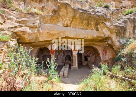 Cave Church at Davit Gareja Monastery in the Caucasus, Georgia - Stock Photo