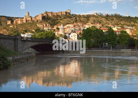 Kura River, Narikala Castle in Tbilisi Georgia - Stock Photo