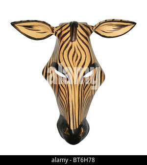 painted African wooden zebra mask isolated on white - Stock Photo