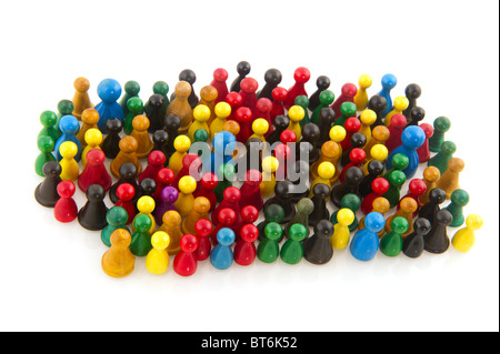 Large group of people in many colors in abstract - Stock Photo