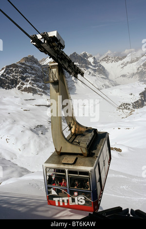 Cable car at Mount Titlis in Switzerland. - Stock Photo