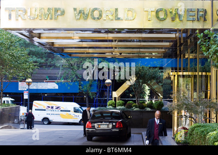 Trump World Towers entrance on 1st Avenue NYC - Stock Photo