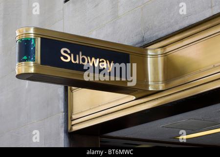 Subway Sign New York City USA - Stock Photo
