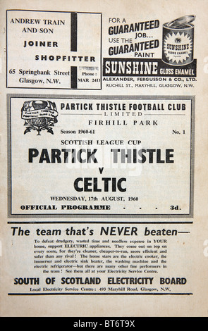 Football programme for a football match between Partick Thistle v Celtic on Wednesday 17 August 1960 - Stock Photo