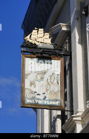 The Baltic Fleet pub sign. The Baltic Fleet is a pub situated on the Strand on Liverpool Waterfront adjacent to - Stock Photo