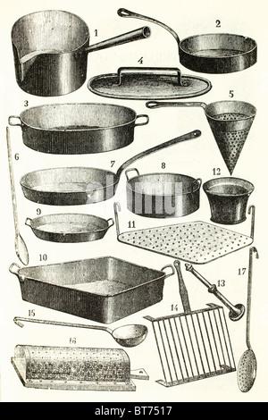 A set of copper kitchen equipment. Antique illustration. 1892. - Stock Photo