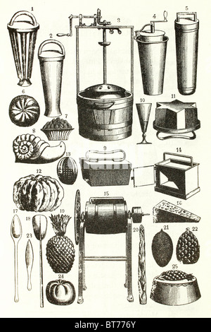 Confectionery. Utensils to make pastries, chocolate tarts and cooking. - Stock Photo