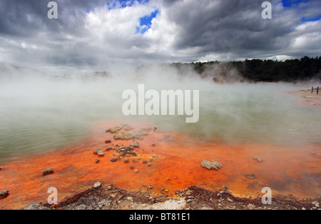 The Champagne Pool at Wai-O-Tapu in New Zealand - Stock Photo