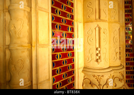 The entrance hall of Art Nouveau Museum of Applied Arts with Zolnay tiles & ceramic hand rails. Budapest Hungary - Stock Photo