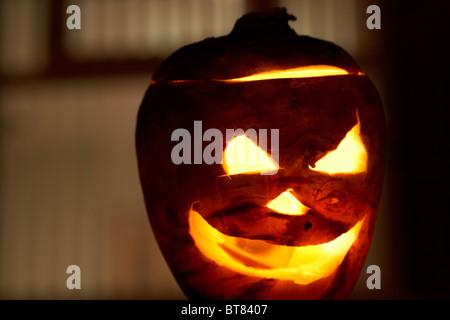 Illuminated Halloween Turnip Jack O Lantern Outside A