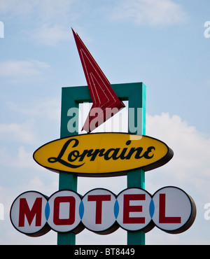 Sign: Lorraine Motel, Memphis, where Dr Martin Luther King Jr was assassinated and is now the National Civil Rights Museum. USA