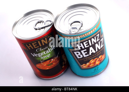 Cans of Heinz Baked Beans in Tomato sauce and Heinz Classic Vegetable Soup from UK. - Stock Photo