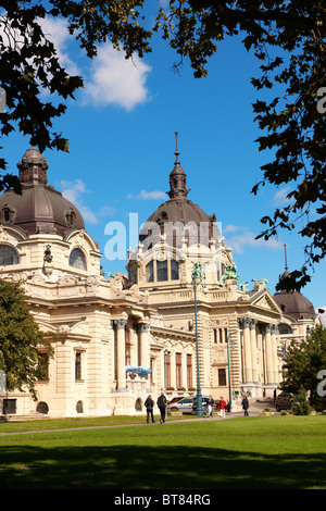 The largest medicinal thermal baths in Europe. The Neo baroque Szechenyi baths, City Park, budapest, Hungary - Stock Photo