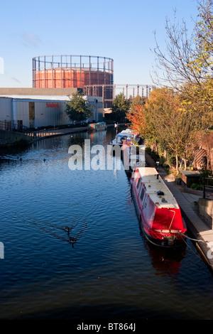 England London North Kensington Views of Grand Union Canal (Paddington Arm) from Ladbroke Grove - Stock Photo