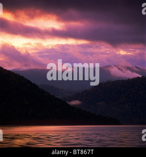 Sunset over Teletskoye lake. Altai. Siberia. Russia - Stock Photo