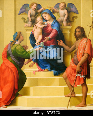 Madonna and Child Enthroned with Saints Mary Magdalen and John the Baptist, ca. 1510–15, by Giuliano di Piero di Simone Bugiardi
