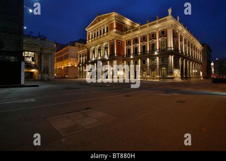 Haus der Gesellschaft der Musikfreunde, musical society at dusk, Boesendorferstrasse 12 / Schwarzenbergplatz, Vienna, - Stock Photo