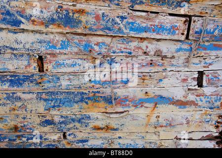Weathered boards on old wooden fishing boat in harbour, Zakynthos Town, Zakynthos (Zante), Ionian Islands, Greece - Stock Photo