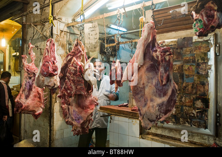 Butcher in Aleppo Bazaar Syria - Stock Photo