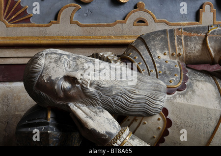 Tomb in St. Peter`s Church, Wootton Wawen, Warwickshire, England, UK - Stock Photo