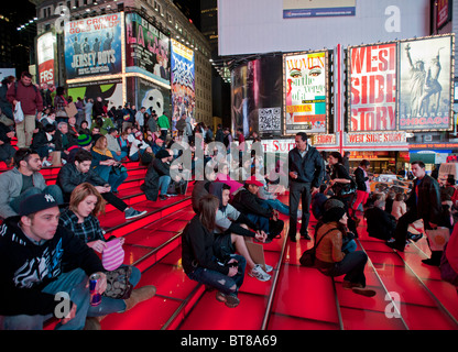 Night view of Times Square on Broadway in Manhattan New York City USA - Stock Photo