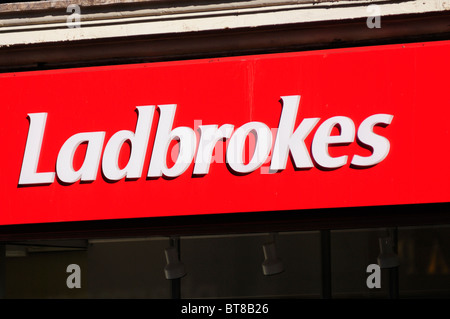 Ladbrokes betting shop sign symbol logo, London, England, UK - Stock Photo