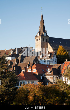 church and houses at the old town of Essen-Kettwig, North Rhine-Westfalia, Germany - Stock Photo