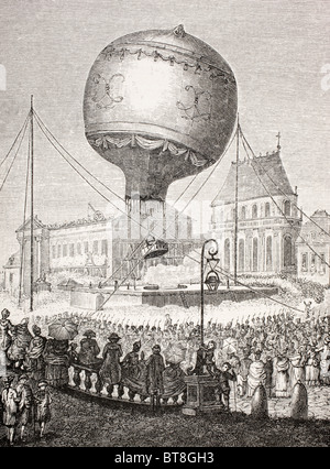 A hot air balloon ascends in Paris, France in the 18th century. - Stock Photo