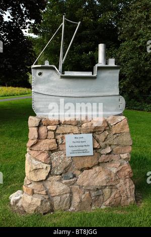 Artist George Wyllie's Sculpture of the fictional steamboat Vital Spark in Kelvingrove Park, Glasgow, Scotland UK - Stock Photo
