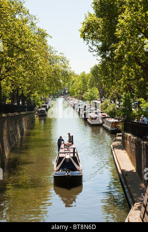 Canal boat on Regent's Canal near Little Venice, London in May 2010 - Stock Photo