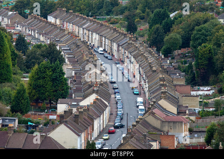 An aerial view of a street in Rochester, Kent, UK. - Stock Photo
