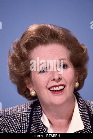 Margaret Thatcher, British Prime Minister, at a Press Conference, London on June 8, 1987 during the General Election - Stock Photo