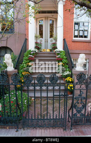 Entrance to apartment building in Chelsea district of Manhattan New  York City   Stock PhotoEntrance to a New York City apartment bulding Stock Photo  Royalty  . Brick Apartment Building Entrance. Home Design Ideas