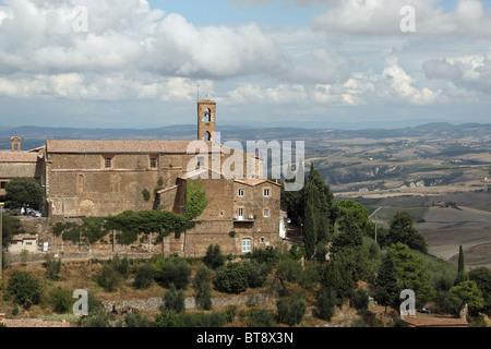 Looking across the countryside from the Tuscan town of Montalcino in Tuscany. - Stock Photo