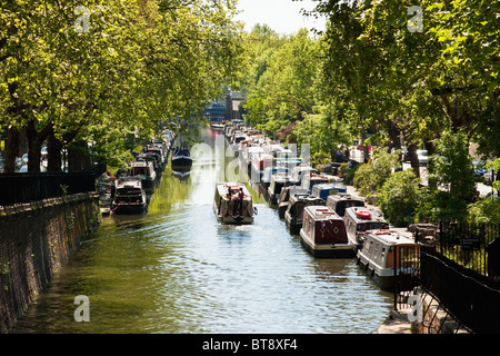 Little Venice in London on the Regent's Canal in May - Stock Photo