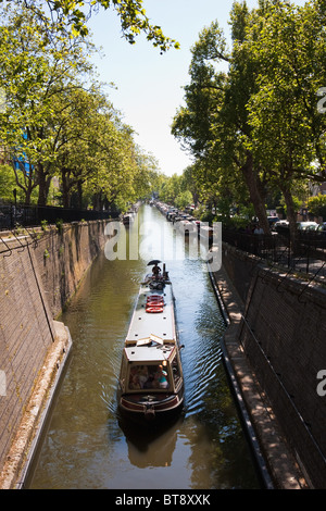 View from Cafe Laville to Little Venice, London in May 2010 - Stock Photo