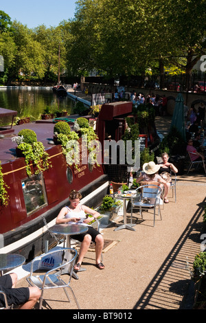 People at a canal side cafe in Little Venice, London in May 2010 - Stock Photo