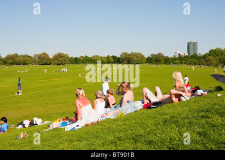People relaxing watching cricket in Regent's Park on a sunny day in London in May 2010 - Stock Photo
