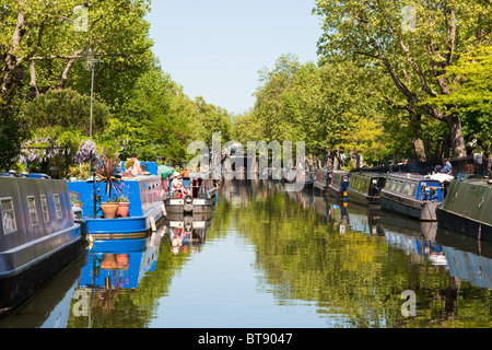 Regent's Canal houseboats in Little Venice, London in May 2010 - Stock Photo