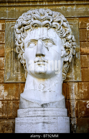 Giant bust of Emperor Augustus, Cortile della Pigna museum, Vatican museums, Vatican City, Rome, Latium, Italy, - Stock Photo