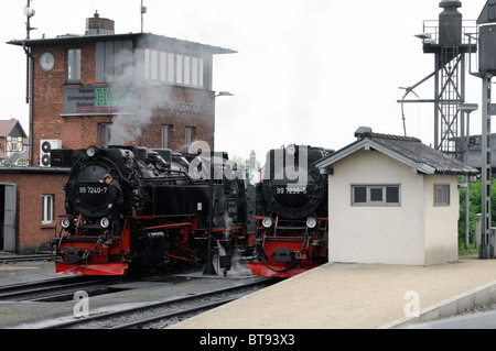 Dampflokomotiven in Wernigerode, Sachsen-Anhalt, Deutschland. - Steam locomotives in Wernigerode, Saxony-Anhalt, - Stock Photo