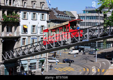 Polybahn crossing the street from Central Square to the University, Zurich, Switzerland, Europe - Stock Photo